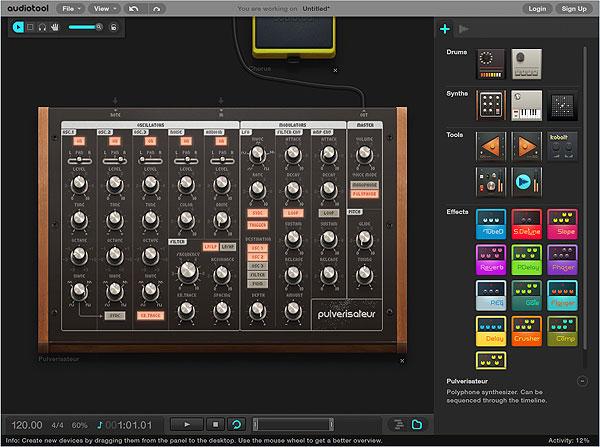 Audiotool - синтезатор Pulverisateur